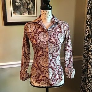 The Limited Burgundy Paisley Blouse